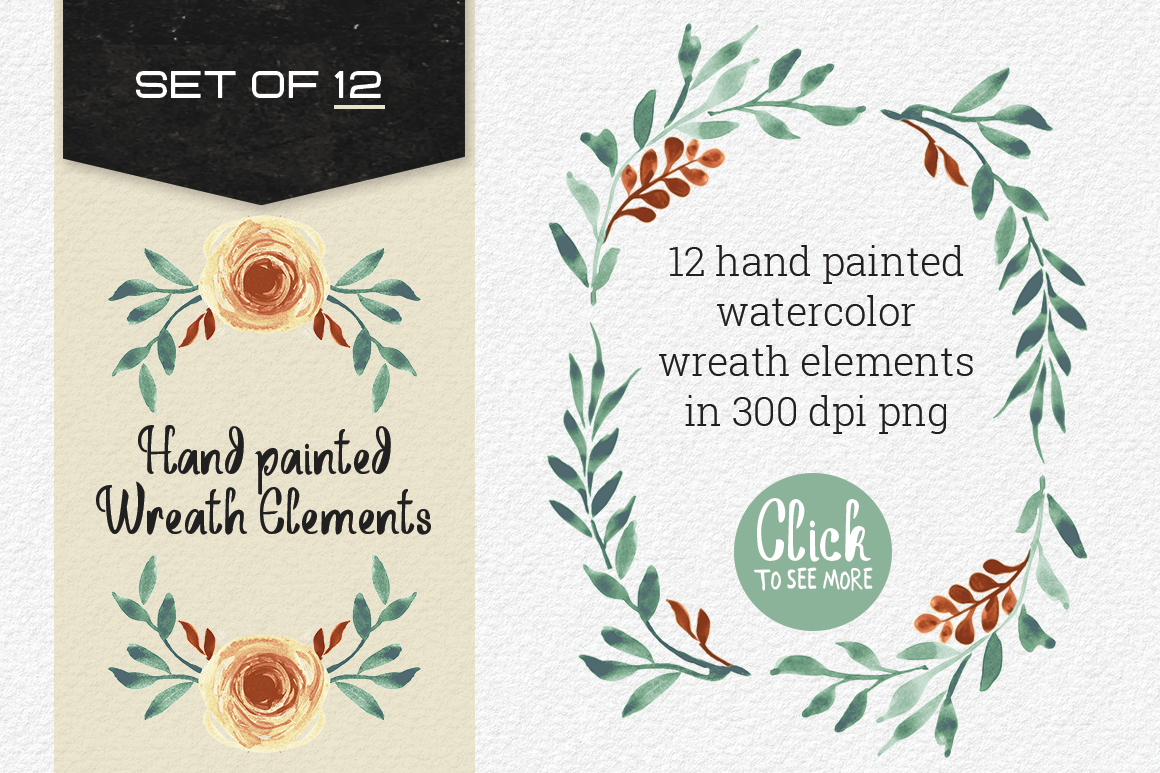 Set of 12 Hand painted Wreath Elements