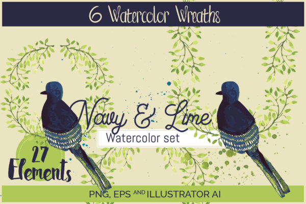 Navy & Lime watercolor set 6 wreaths