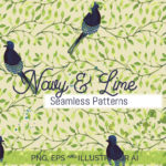 Navy & Lime set of Seamless Patterns