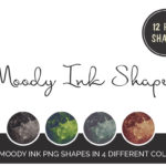 12 Moody Ink Shapes 4 colors