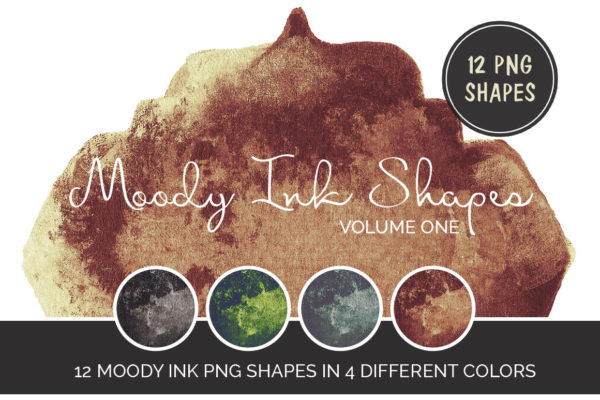 12 Moody Ink Shapes sepia