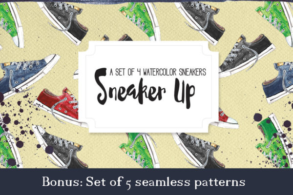 Sneakers seamless patterns