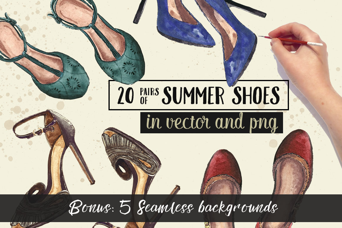 summer shoes watercolor