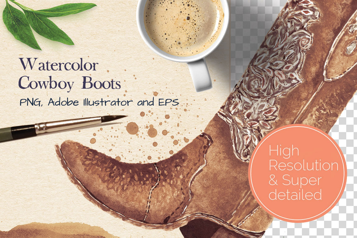 super detailed watercolor cowboy boots