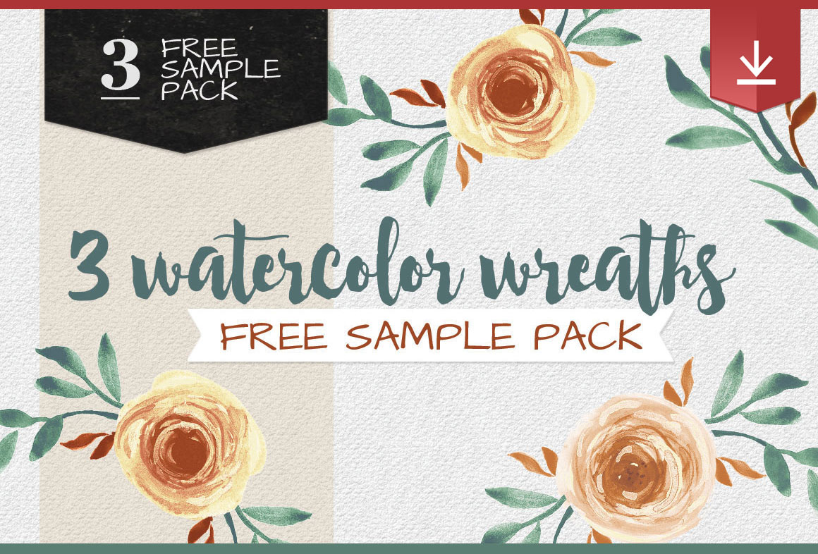 3 wreaths watercolor freebie