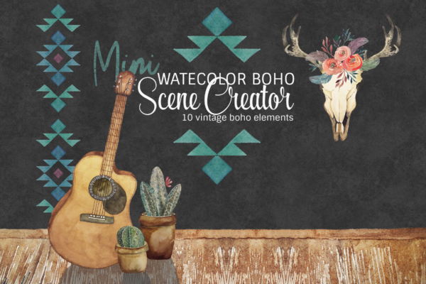 mini watercolor boho scene creator