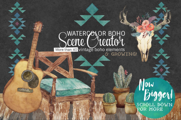 watercolor boho scene creator